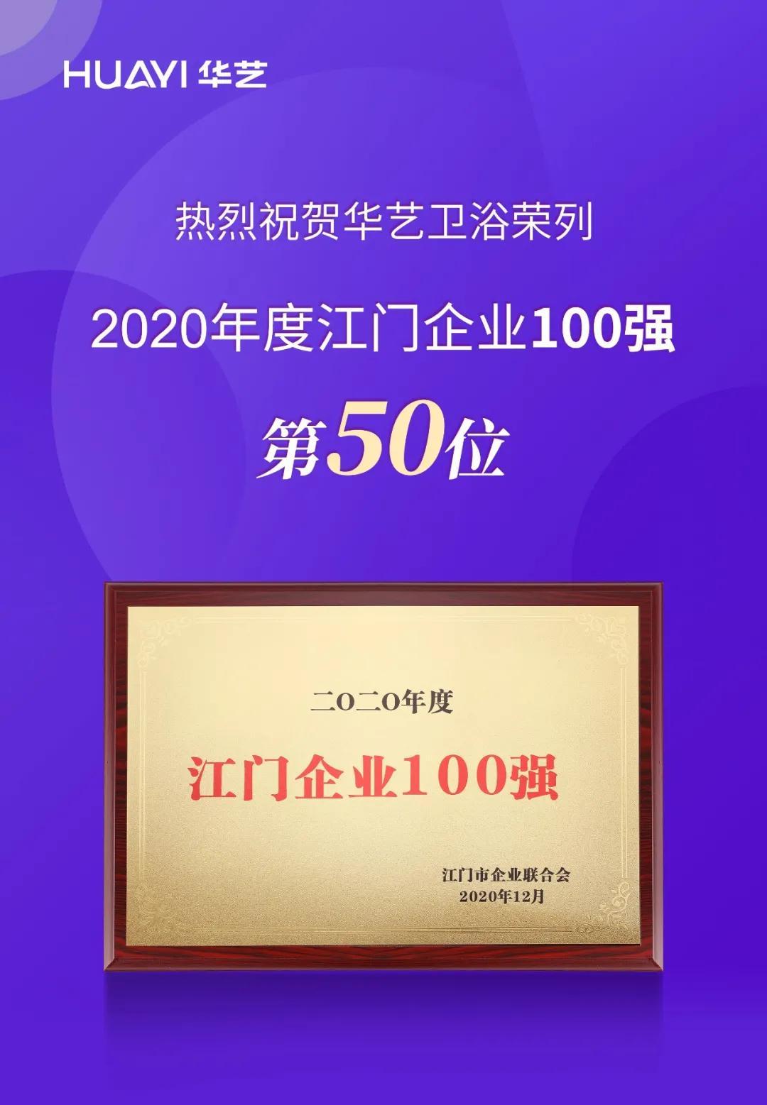 2020年度江门企业100强榜单揭晓,金牛国际app下载卫浴荣列第50位