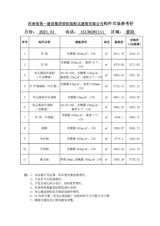 河南省装配式你们老板是谁建筑预制构件市场参考价(2021年1月)