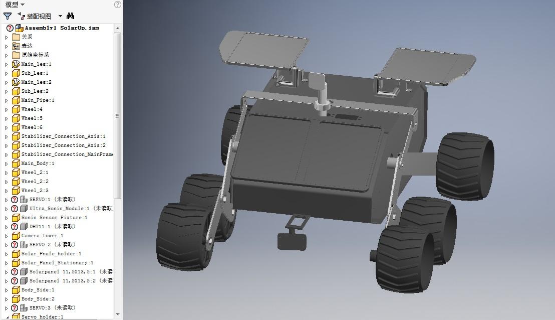 转向架摇臂六轮月球车简易模型3D图纸 INVENTOR设计 附STEP