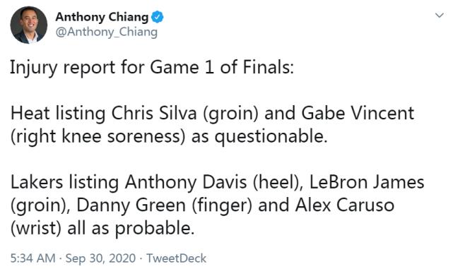 總冠軍賽G1傷情出爐!詹眉仍有小傷湖人四將在列,熱火兩人出戰成疑!-籃球圈