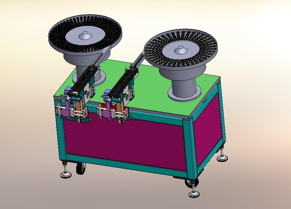 齿轮和轴承双振动盘送料分机构图3D模型图纸 Solidworks设计