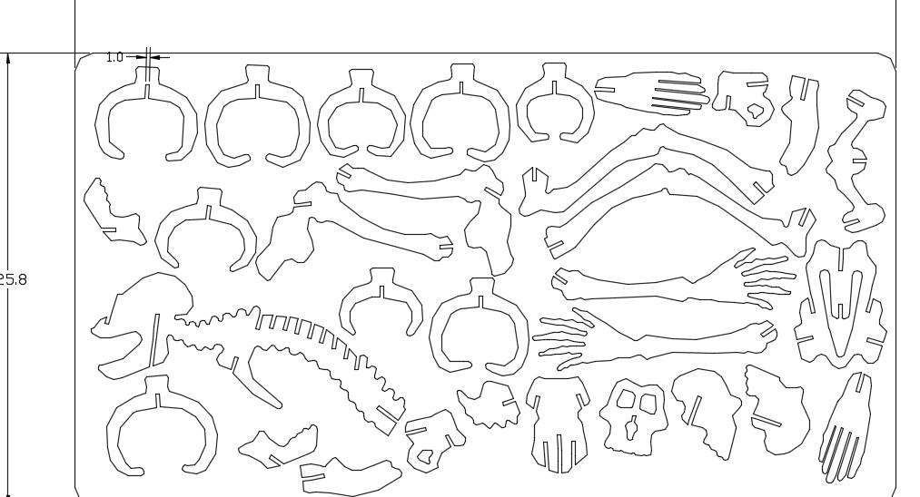 巨兽巨人骨架拼图模型图纸 dwg格式