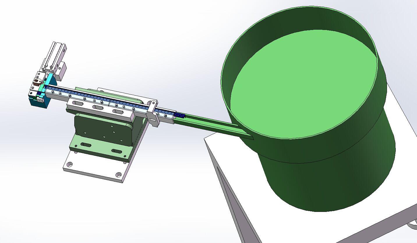方形塑胶零件供料振动盘组件3D模型图纸 Solidworks设计