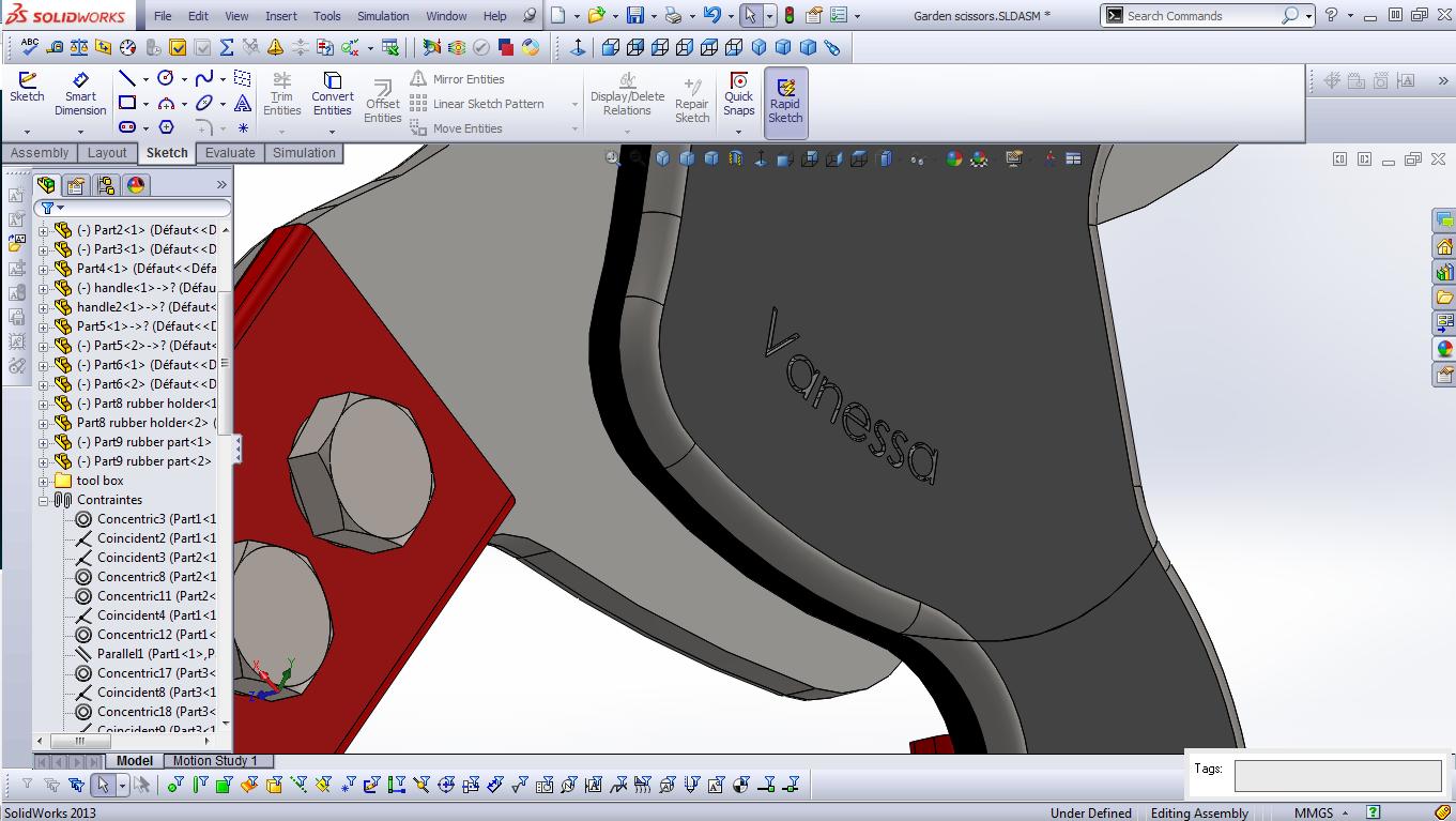 普通花园园艺剪刀模型3D图纸 Solidworks设计