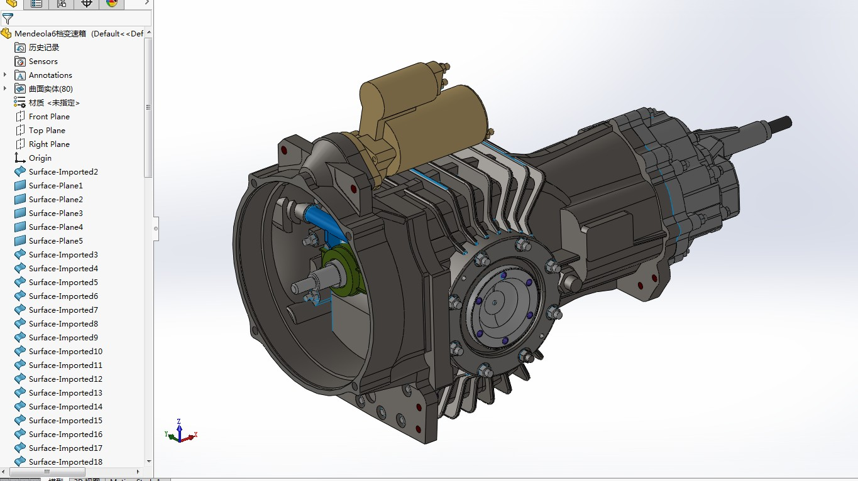 Mendeola-6档变速箱(自动变速箱)3D模型图纸 Solidworks设计