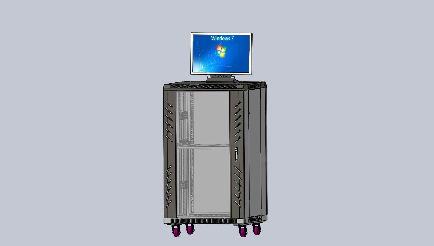 标准网络机柜3D模型图纸 Solidworks设计