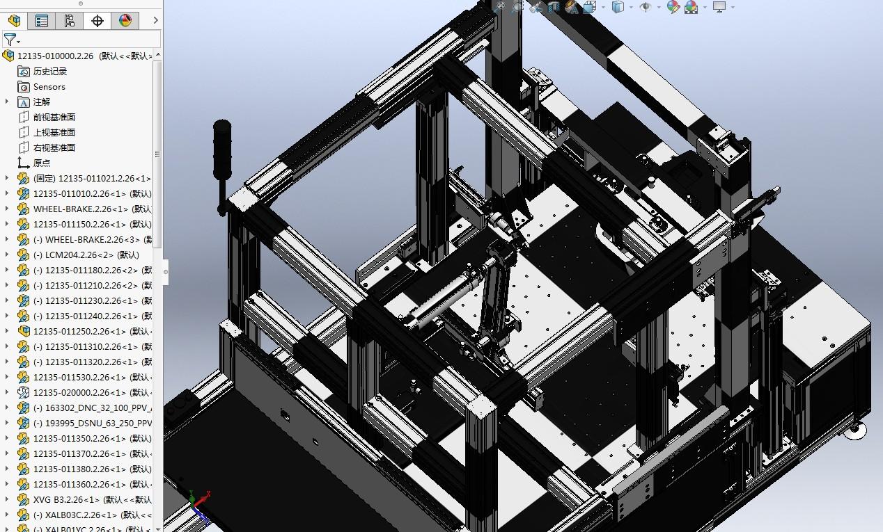 汽车座椅性能测试设备3D模型图纸 Solidworks设计