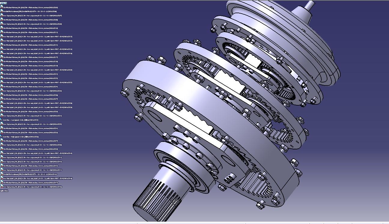 行星齿轮变速箱3D模型图纸 STEP格式