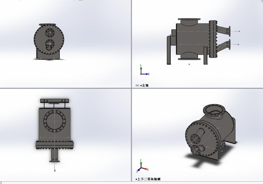 板壳式换热器3D模型图纸 Solidworks设计