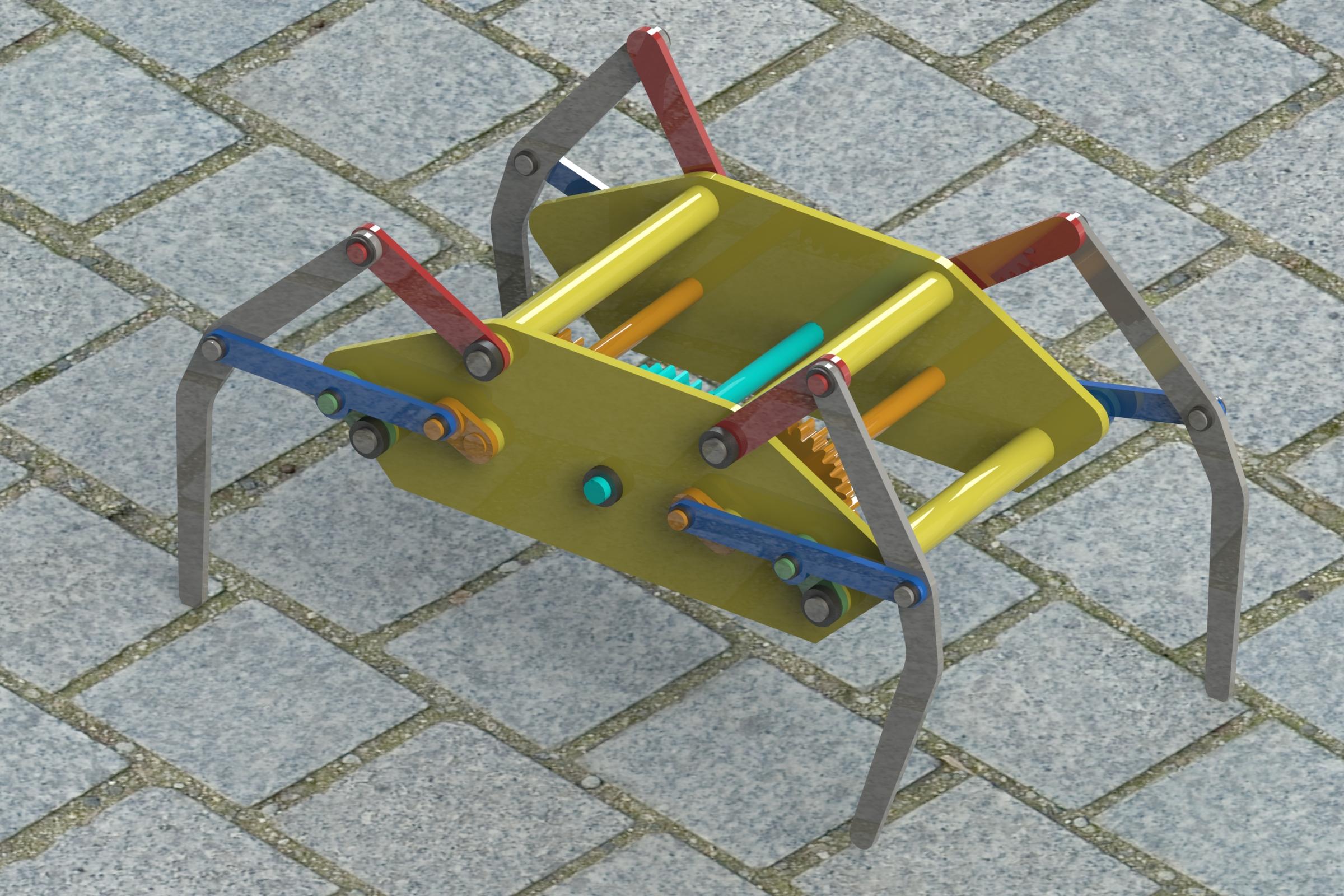 klann linkage简易四足行走结构3D图纸 Solidworks设计 多种格式