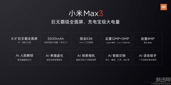 小米手机Max3配备主要参数发布:显示屏、充电电池全方位升級,大量AI作用