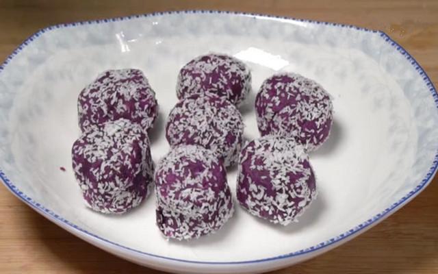 椰蓉紫薯糕做法步骤图 ,口感软糯香甜  十分钟就能做出来
