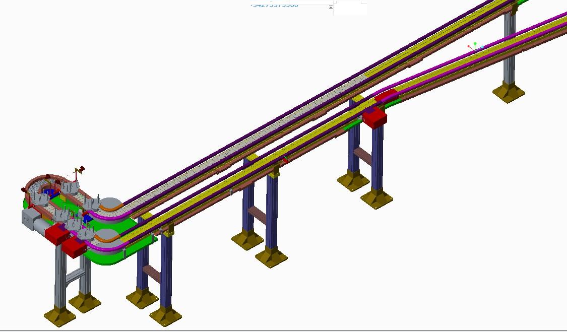 托盘上坡下坡输送自动化设备3D模型图纸 PROE设计
