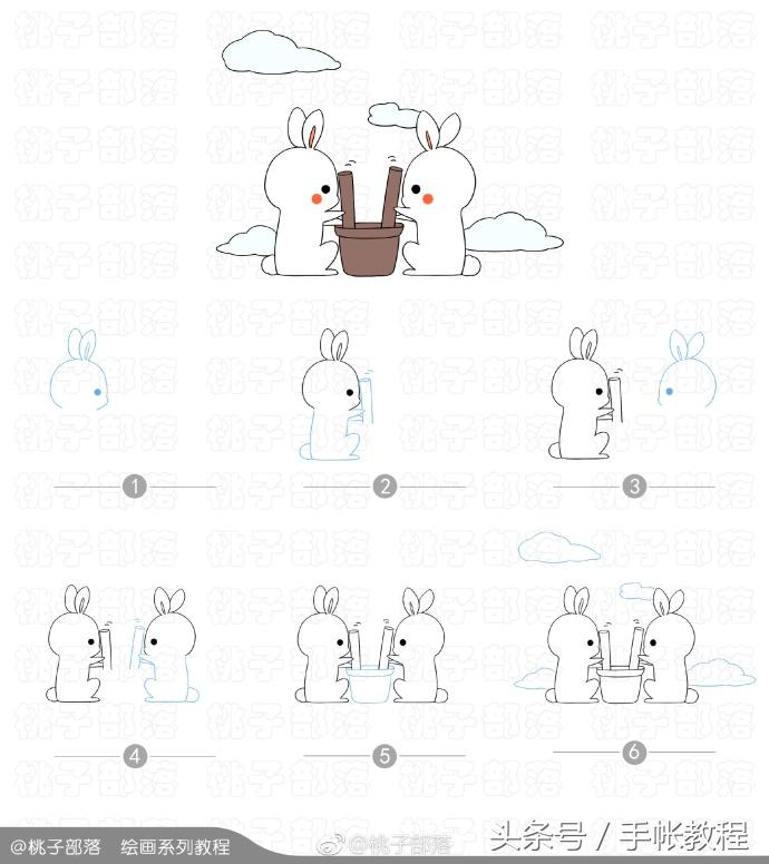 嫦娥、玉兔、灯笼、桂花的简笔画教程