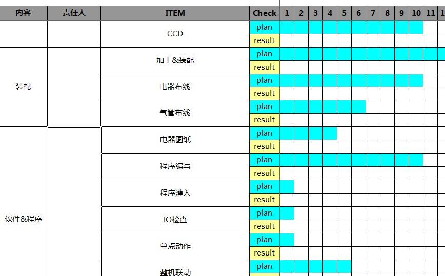 非标自动化设备项目进度表 xls格式