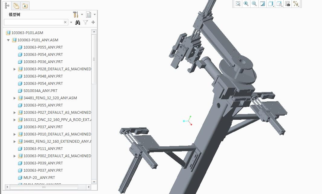 中转机构3D数模图纸 CREO设计 附STEP
