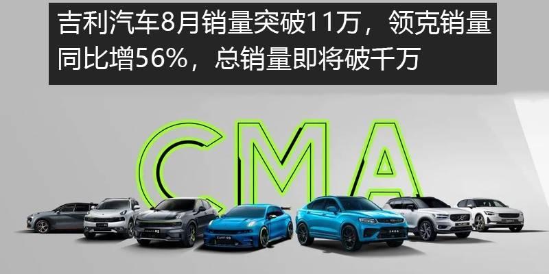 吉利8月销量破11万,领克同比增56%,总销量将破千万