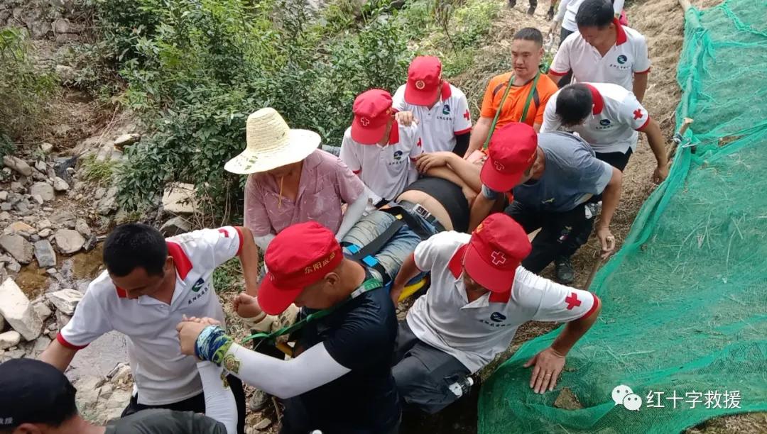 虎鹿一村民采摘香榧不慎受伤,救援队员接力将其运送下山