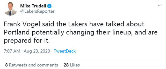 湖人公佈G3先發陣容!軟豆終於被激活,沃格爾回應拓荒者可能變陣!-黑特籃球-NBA新聞影音圖片分享社區