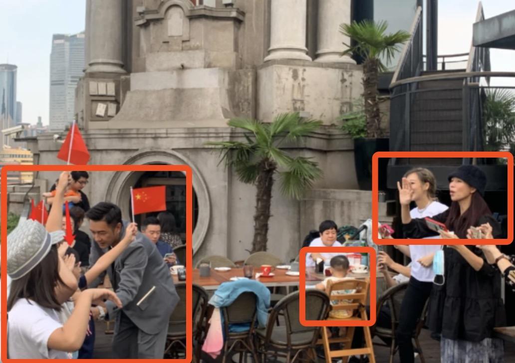 蔡少芬陈浩民两家聚会,在上海外滩被偶遇,指导孩子们摆拍超热闹