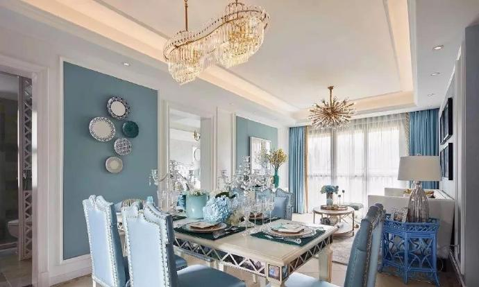 130㎡美式大户型,淡蓝色墙面搭配软装惊艳,儿童房设计超棒