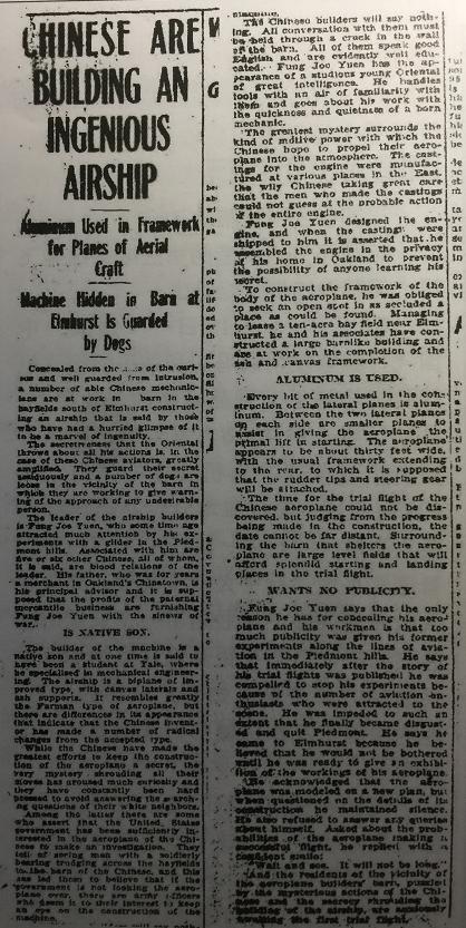 从老外的角度,看1910年《奥克兰论坛报》对冯如制造飞机的报道