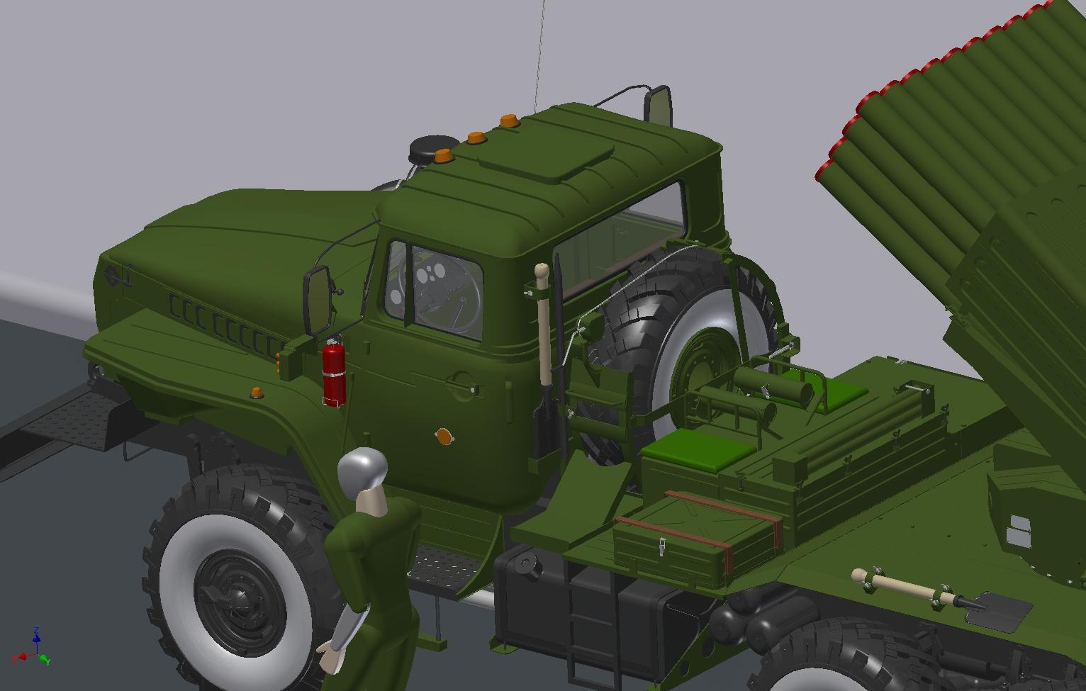 URAL 4320全地形卡车带BM-21火箭发射管玩具模型3D图纸 STP IGS