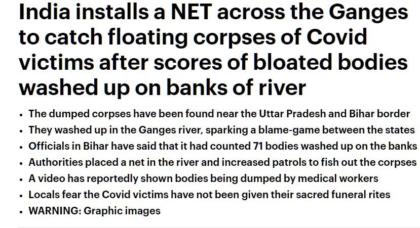 恒河惊现大量浮尸!印度恐怖现状惨不忍睹,变种病毒传至全球40国