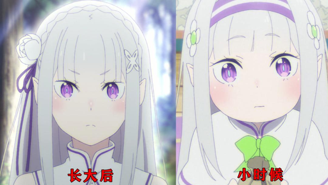 Re0:女大十八變,愛蜜莉雅小時臉很圓,長大後變成瓜子臉