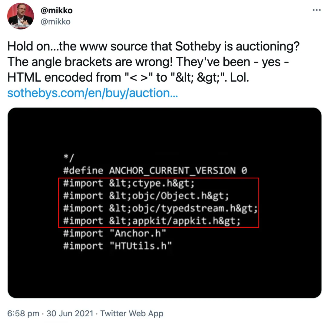 互联网之父公开拍卖万维网源代码,3400万买下后发现居然有bug