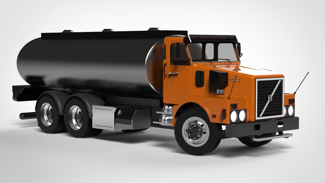 Volvo N10长头罐卡车简易模型3D图纸 Solidworks设计