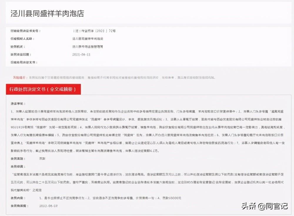 泾川一羊肉泡店套用他人商标 市场监管局:增名牌搭便车罚款3万