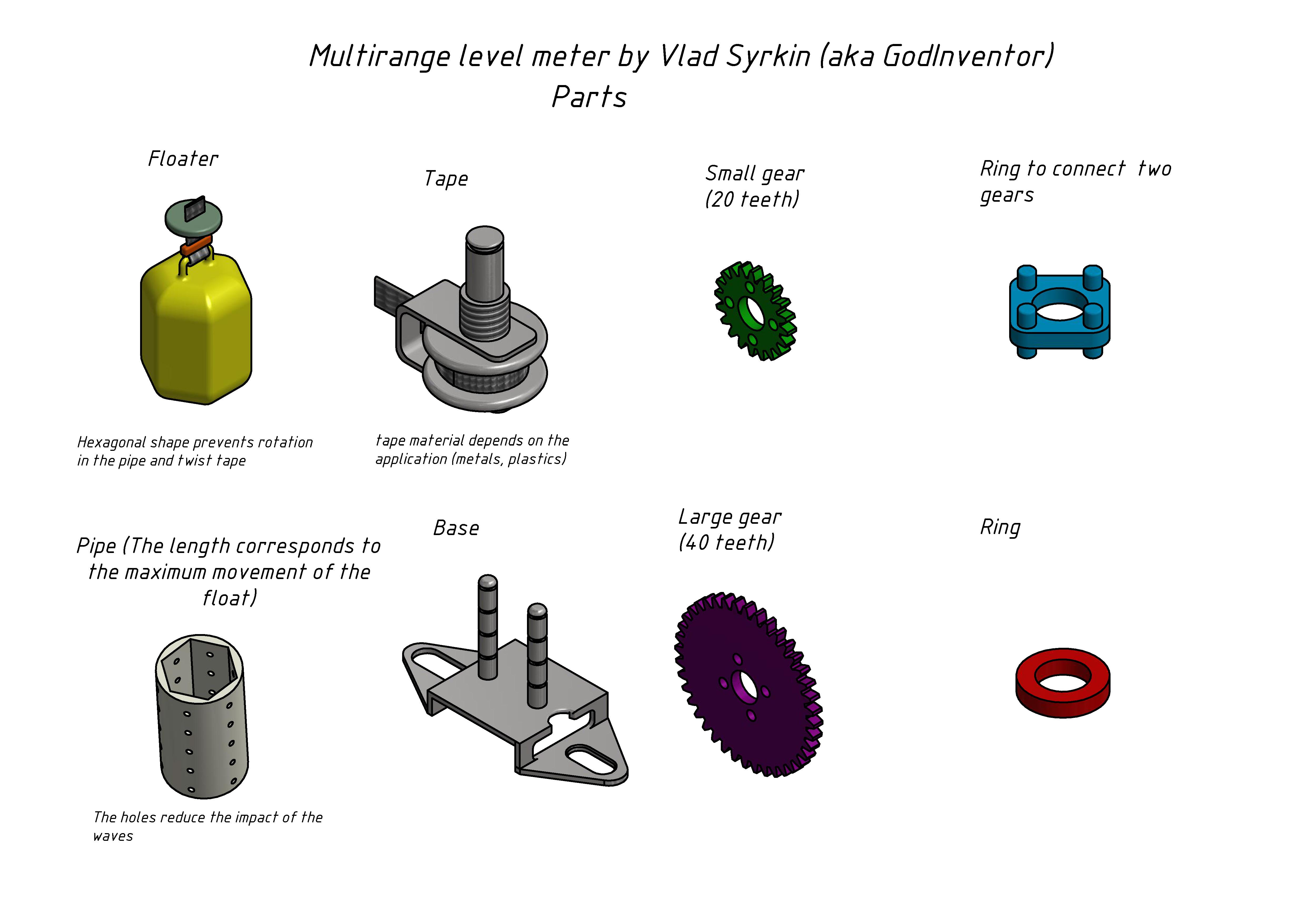 多量程液位计结构3D图纸  INVENTOR设计 附STP格式