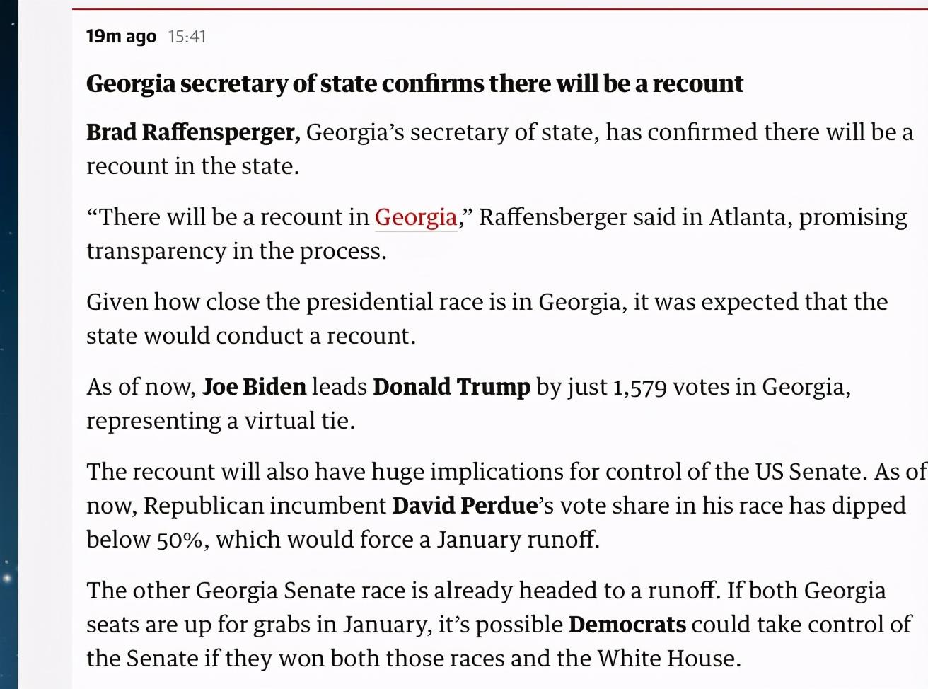拜登翻蓝宾州,佐治亚却要重新计票?