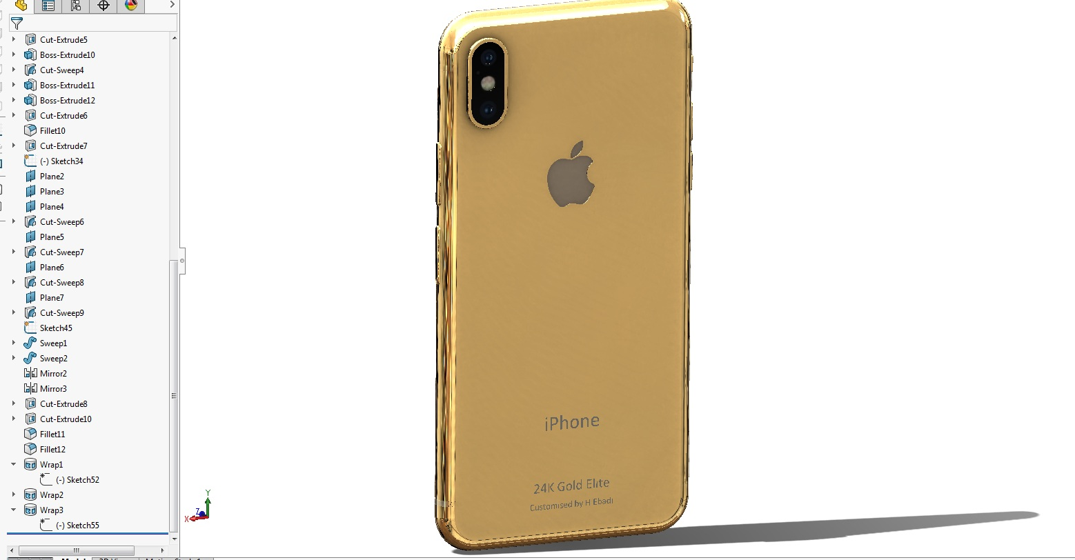 24K黄金版iPhone X简易模型3D图纸 STEP格式