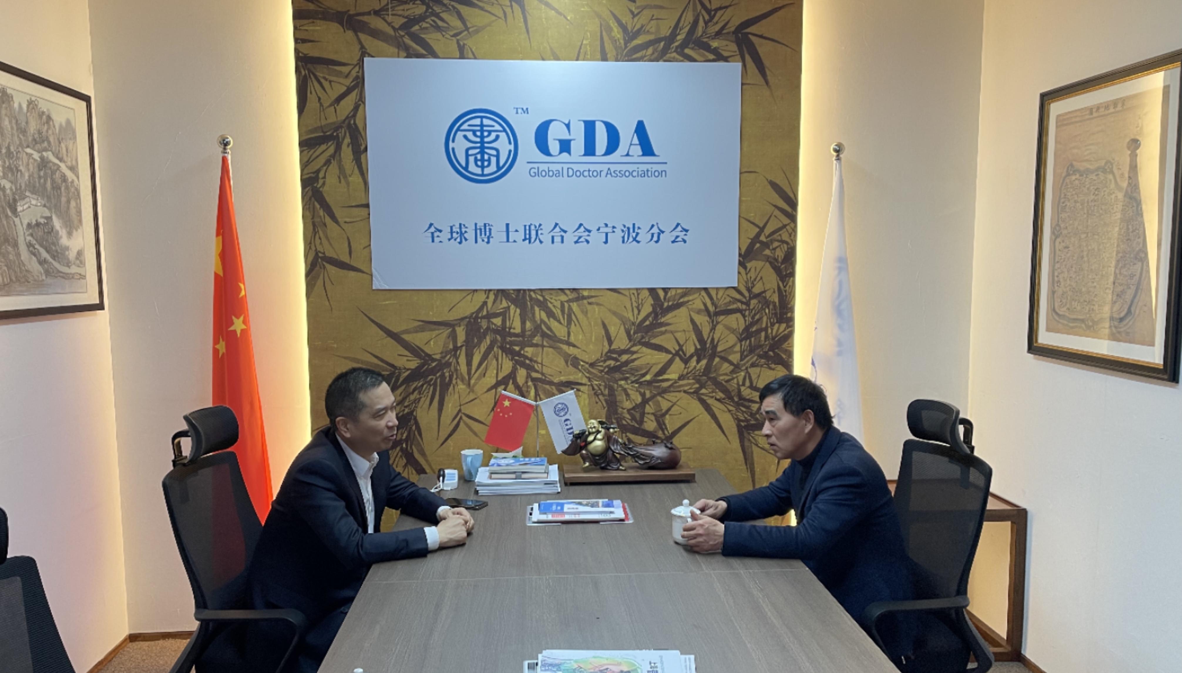 浙江民欣建设有限公司董事长张国明走访全球博士联合会