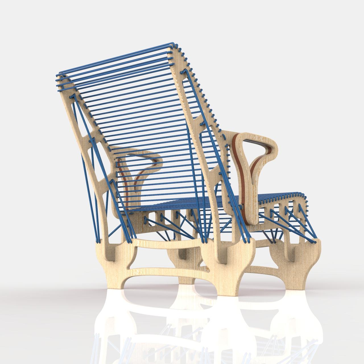 绳索椅休闲椅模型3D图纸 x_t step格式