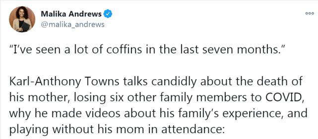 連失7位親友!灰狼Towns今年的遭遇實在是太慘:過去7個月,我見過太多棺材-黑特籃球-NBA新聞影音圖片分享社區
