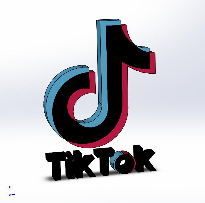抖音TikTok Logo图标三维模型图纸