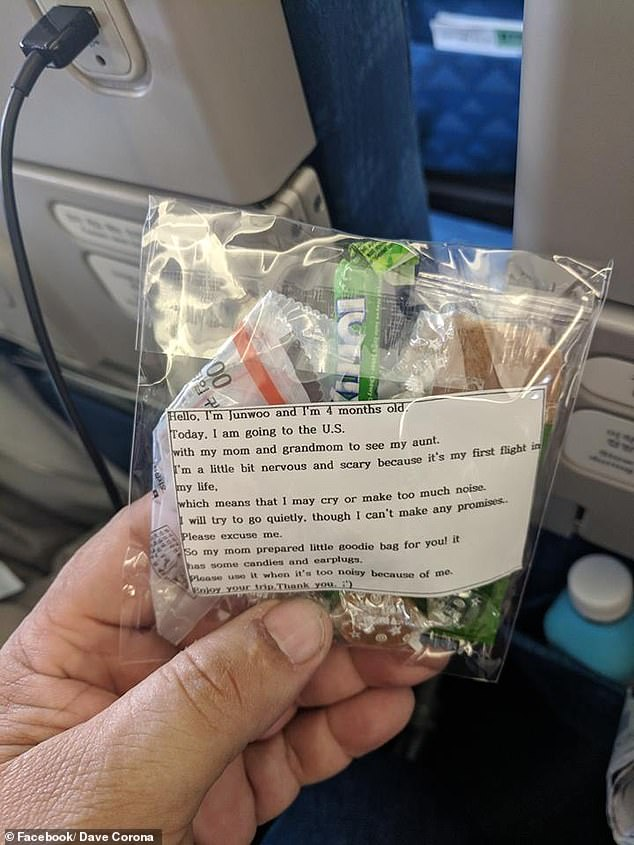 暖心!韩国母亲带娃乘机怕其哭闹,为乘客准备200个糖果袋耳塞