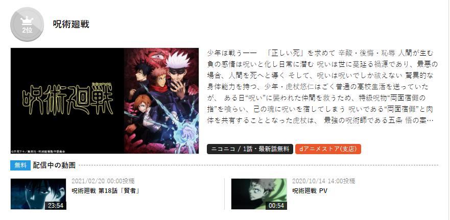N站官推公布了本季度1月新番排行,《無職轉生》連續6周第一