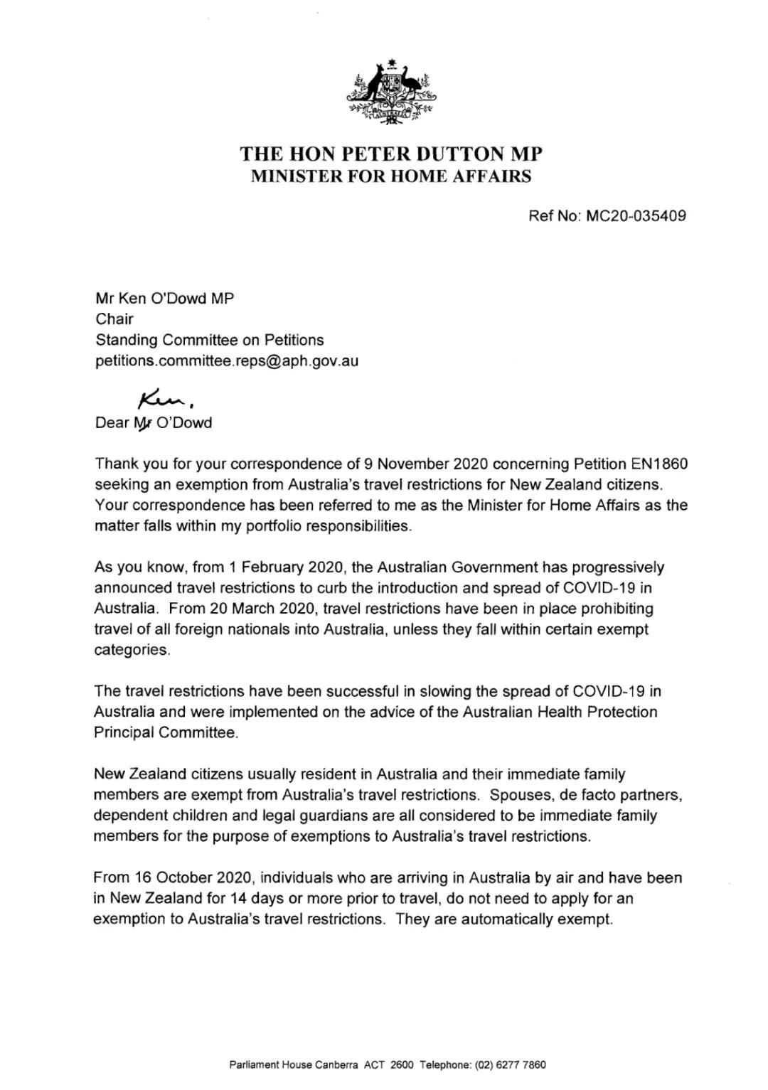 父母竟不算直系亲属?1.1万人请愿要求改规定,澳内政部长回应