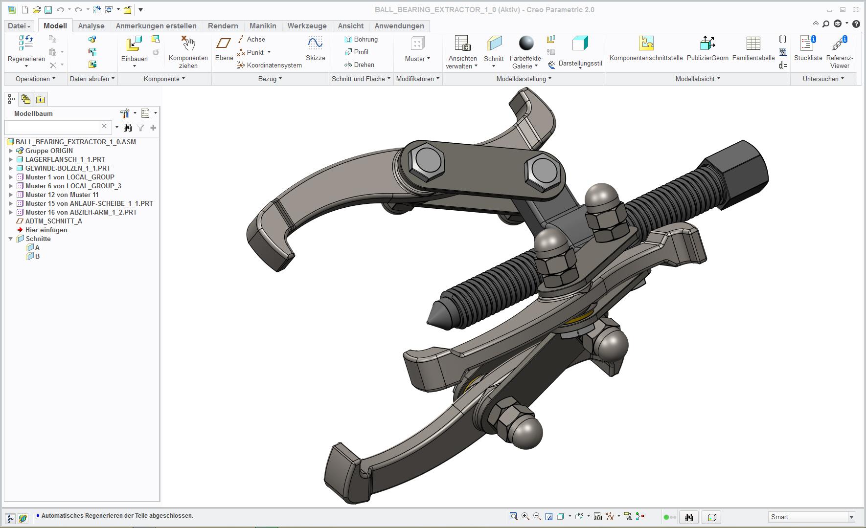 滚珠轴承拆卸器3D数模图纸 STP格式