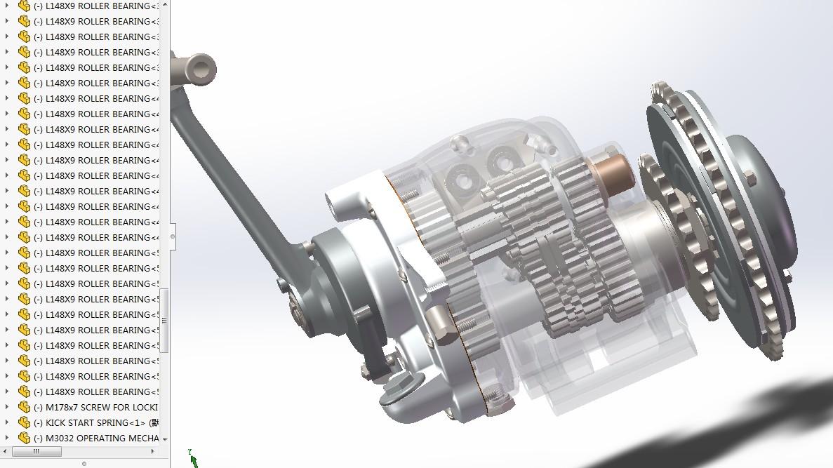rudge 500cc摩托车变速箱3D图纸 Solidworks2019设计 附IGS