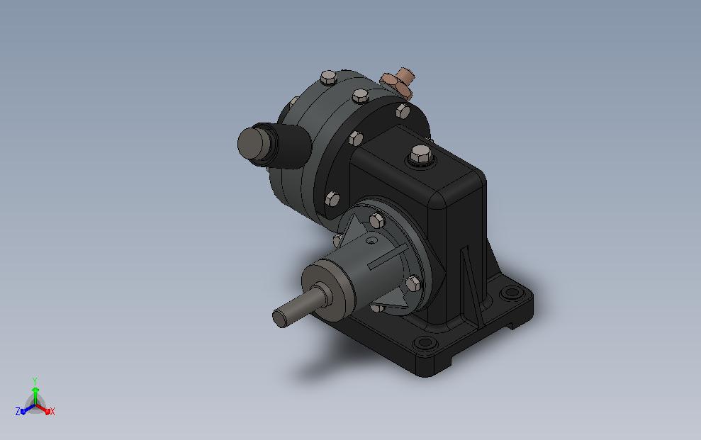 蜗轮蜗杆摩托车减速器3D数模图纸 Solidworks设计