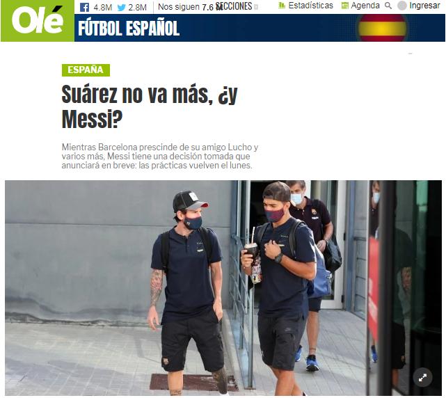 阿根廷媒体:梅西在未来几小时决定是否留在巴萨
