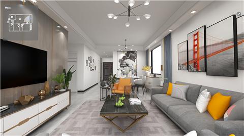 现代风格88㎡长沙永宏家园里1栋2栋02户型装修全景效果图V2021070201