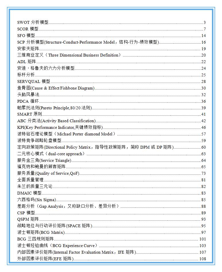 全球500强职业经理人必备的25个管理工具 (经典详解)