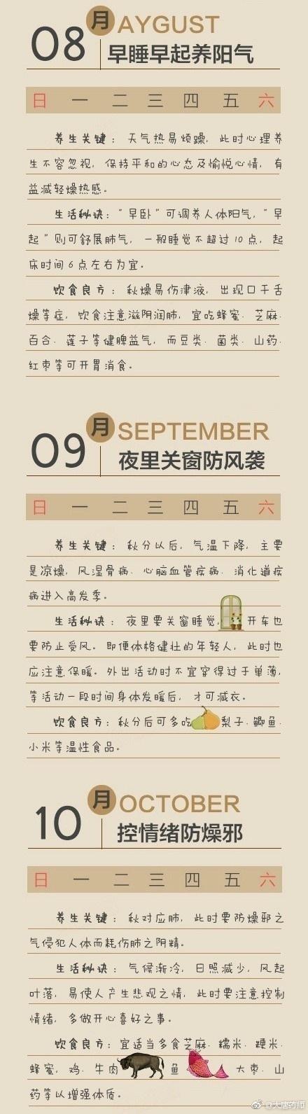 中医养生:每个月的养生方式都会有不同哦,超全的养生知识,收藏 中医养生 第8张