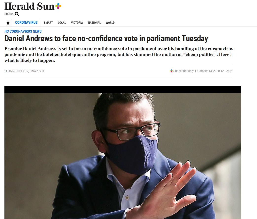 澳大利亚维州议会复会 反对党对州长安德鲁提不信任投票动议